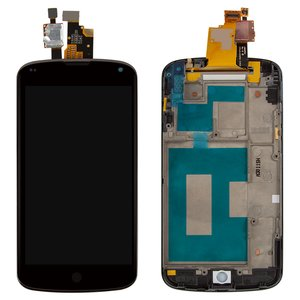 LCD LG E960 Nexus 4, (black, with touchscreen, with front panel)